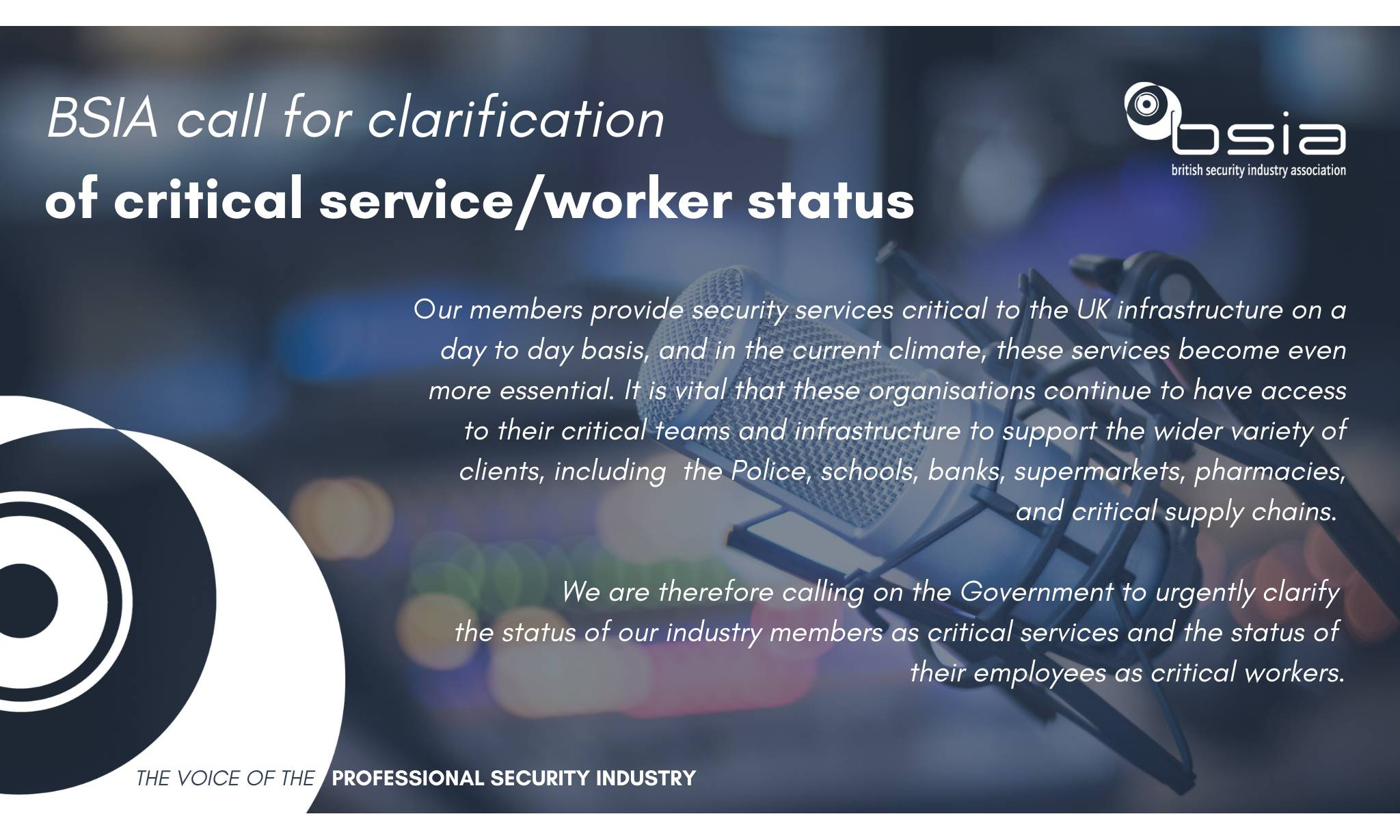BSIA to call on government to clarify key worker status as concern in the security industry grows